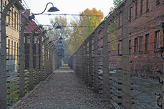 Fence of barbwire in concentration camp Auschwitz I Royalty Free Stock Photo