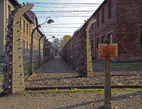 Fence of barbwire in concentration camp Auschwitz I Stock Image