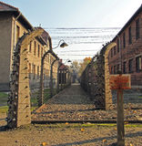 Fence of barbwire in concentration camp Auschwitz I Stock Photo
