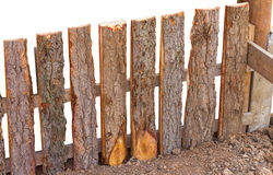 Fence Bark on ground. Royalty Free Stock Images