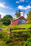 Fence and barn on a farm in rural York County, Pennsylvania. Stock Photo