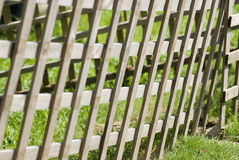 Fence and barrier. Wooden fence forming a blockade to deny entry to outsiders Stock Photos