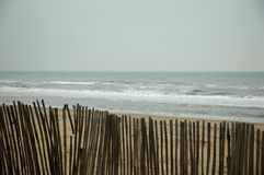 Fence at the beach with ocean royalty free stock photos