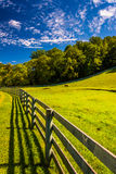Fence and beautiful farm field in York County, Pennsylvania. Stock Images