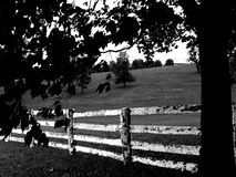 Fence black & white. Kentucky horse farm Royalty Free Stock Photos