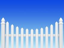 Fence on blue sky. White fence on blue sky background royalty free illustration