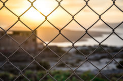 Fence. A blur evening scene at Santorini island with fence as floorground Royalty Free Stock Image