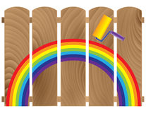 Fence boards painted in rainbow Stock Image