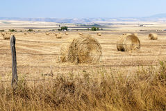 Fence border on a field with rolls of straw Royalty Free Stock Photography