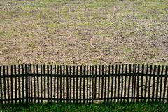 Fence. Border fence separating private land stock photography