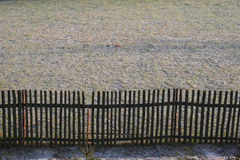 Fence. Border fence separating private land stock photo