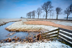 Fence and canals in Dutch farmland Royalty Free Stock Photography