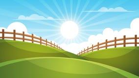 Fence, cartoon landscape. Sun, cloud, sky illustration. Fence, cartoon landscape. Sun, cloud sky illustration Vector eps 10 vector illustration