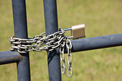 Fence with chain and lock Royalty Free Stock Images