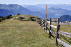 Fence in Chamrousse. And Vercors range in the background Stock Photo