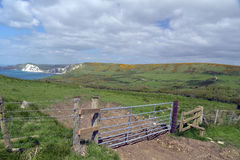 Fence on coastal path near Worbarrow Bay Stock Photos