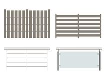 Fence collection. Illustrations of various fences isolated on white Stock Image