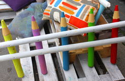 Fence of colored pencils Royalty Free Stock Images