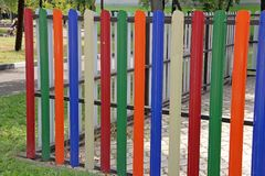 Fence with colored slats Stock Image