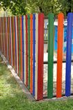 Fence with colored slats Royalty Free Stock Photo