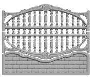 Fence concrete. Illustration of a concrete fence on white background, product image to be included in the catalog Royalty Free Stock Photo