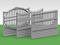 Fence concrete. Illustration of a concrete fence on white background, product image to be included in the catalog Royalty Free Stock Photography