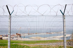 The fence on the construction of the bridge Kerch Royalty Free Stock Photos