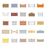 Fence country types icons set, flat style. Fence country types icons set. Flat illustration of 25 fence vector icons for web Royalty Free Stock Photos