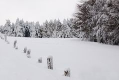 Fence covered with snow. Fence covered with  soft snow Stock Photos
