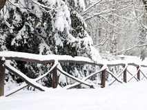 Fence covered by snow royalty free stock photos