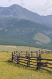 Fence for cows and yaks in mountains. Royalty Free Stock Photo