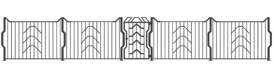 Fence and gate 3D Royalty Free Stock Images