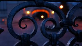 Fence detail at Pannonhalma Abbey at night stock photography