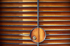 Fence door detail with iron and wood Stock Image