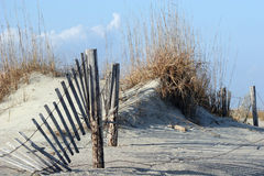 Fence in Dunes. Fence in sanddunes at beach Royalty Free Stock Photos