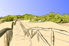 Fence and dunes sand. Mediterranean vegetation Stock Photography