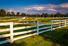 Fence and farm field in rural Howard County, Maryland. Royalty Free Stock Photography