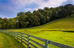 Fence and farm field in rural York County, Pennsylvania. Stock Images