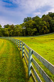 Fence and farm field in rural York County, Pennsylvania. Stock Photography