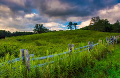 Fence and field along the Blue Ridge Parkway in North Carolina. Royalty Free Stock Photography