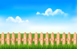 A fence in a field. Background with a fence in a field. Vector Royalty Free Stock Image