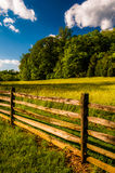 Fence, field and trees under a beautiful spring sky, at Antietam National Battlefield Royalty Free Stock Image