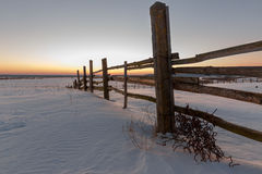 Fence in a field in winter village at dawn Stock Image