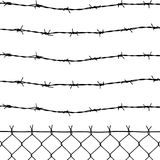 Fence with five barbed wires Royalty Free Stock Photos
