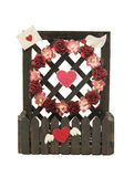 Fence of flower and heart symbol isolated on white background Royalty Free Stock Images