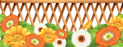 A fence with flowers Royalty Free Stock Image