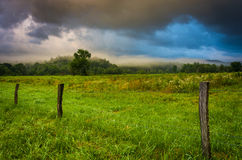 Fence and fog in a field at sunrise, at Cade's Cove , Great Smok Stock Photo