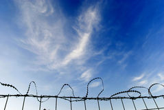 Fence fortified with Razor Wire Royalty Free Stock Photography