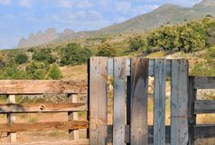 Fence in front mountain landscape Royalty Free Stock Photography