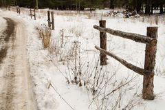Fence on a frosted road in a forest Stock Photos